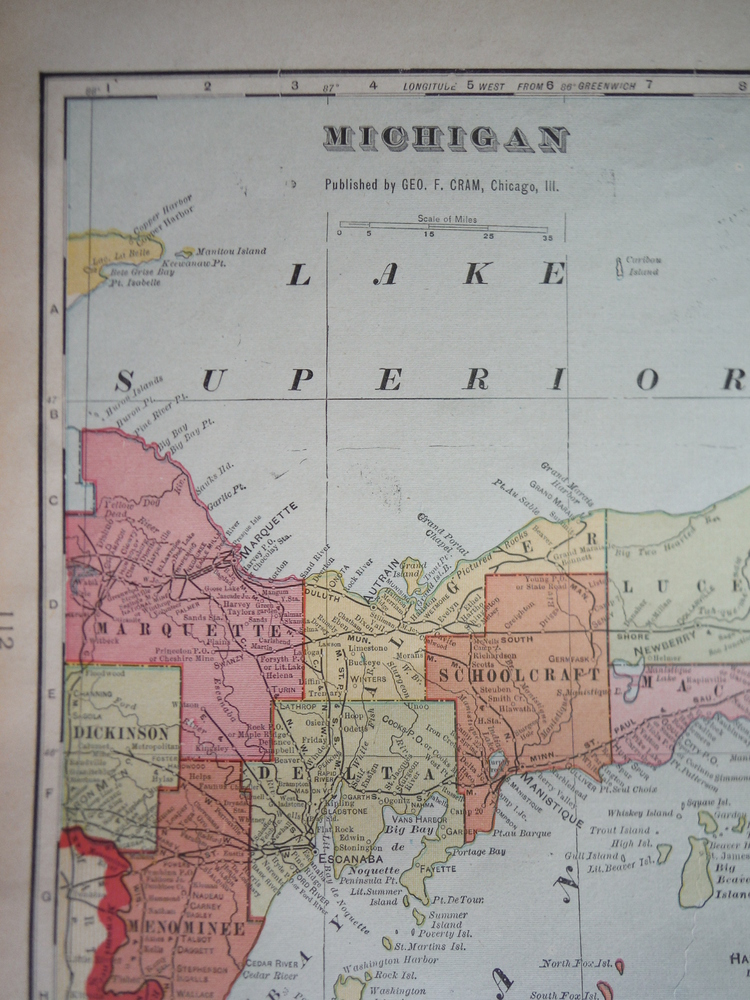 Image 1 of Cram's Map of Michigan (1901)