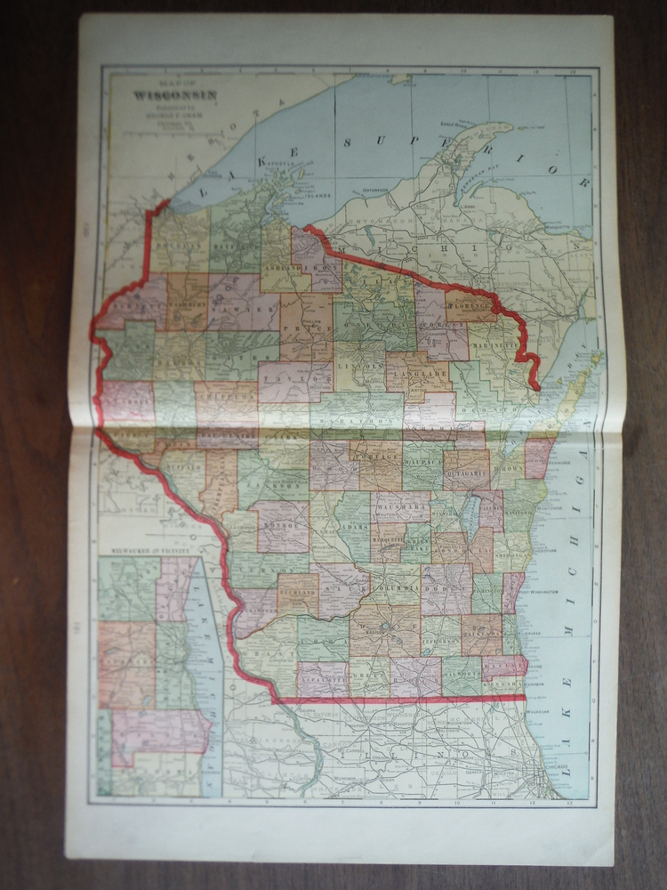 Cram's Map of Wisconsin (1901)