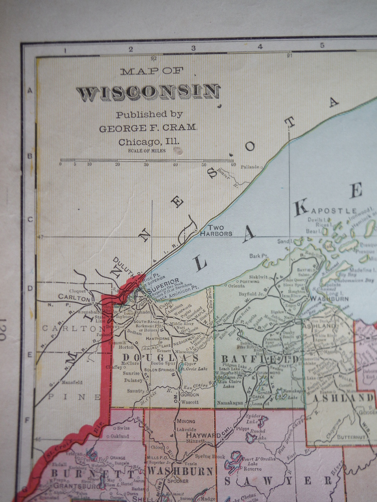 Image 1 of Cram's Map of Wisconsin (1901)