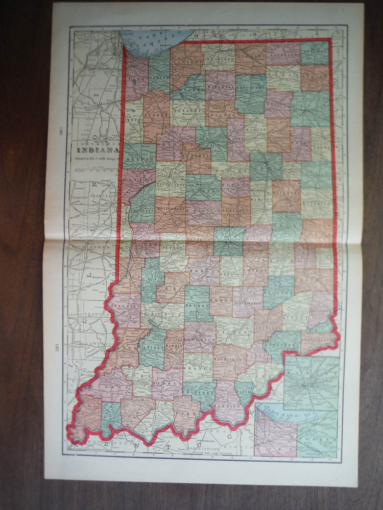 Cram's Map of Indiana (1901)