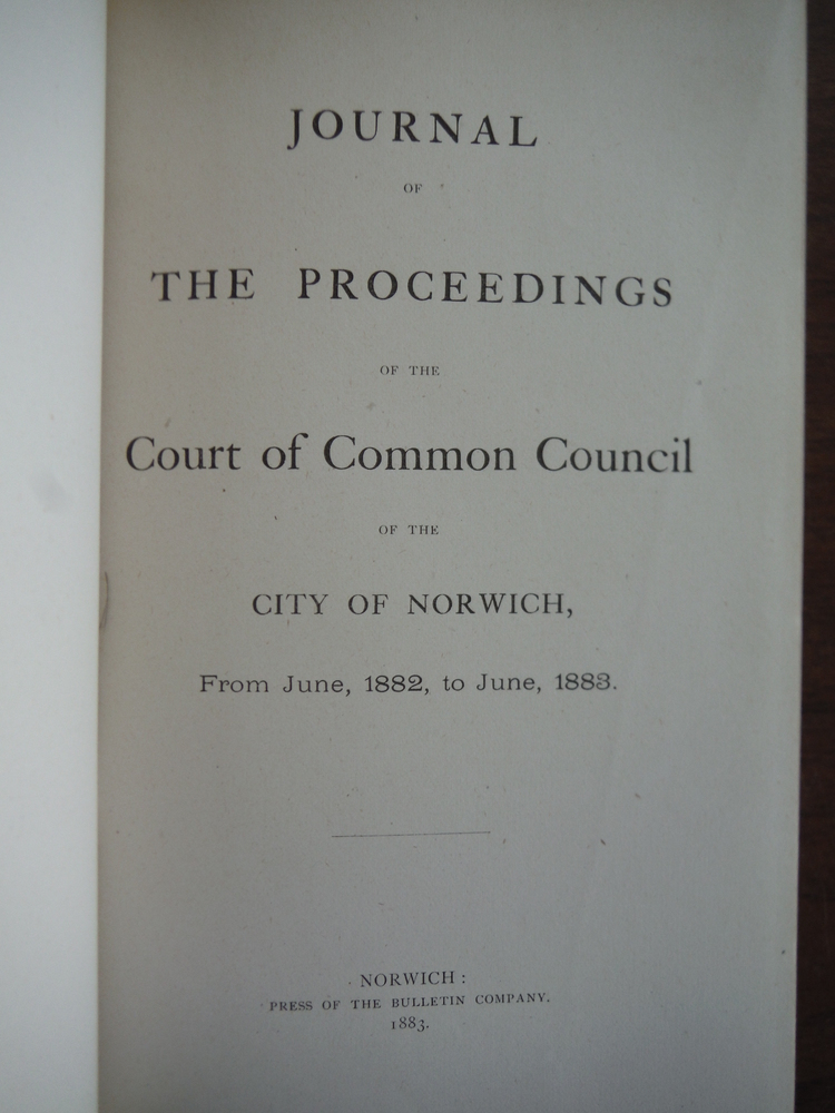 Image 1 of Journal of the Proceedings of the Court of Common Council of the City of Norwich