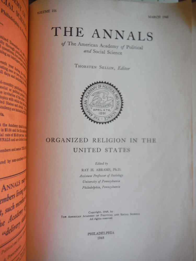 Image 1 of Organized Religion in the United States: The Annals of the American Adademy of P