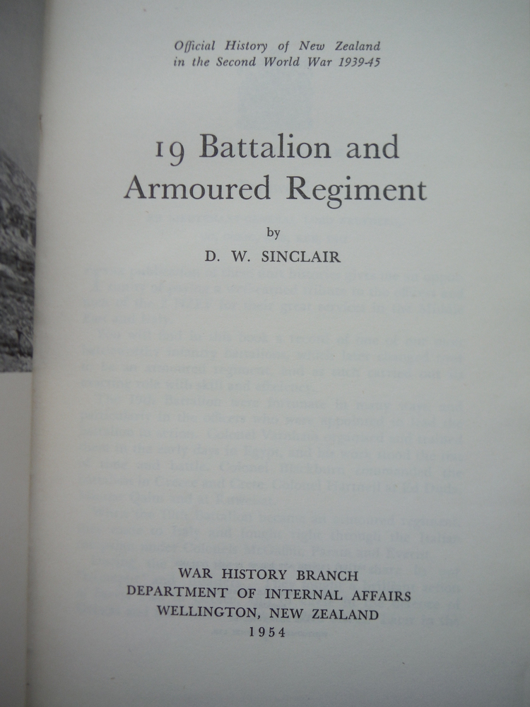 Image 1 of 19 Battalion and Armoured Regiment. Official History of New Zealand in the Secon