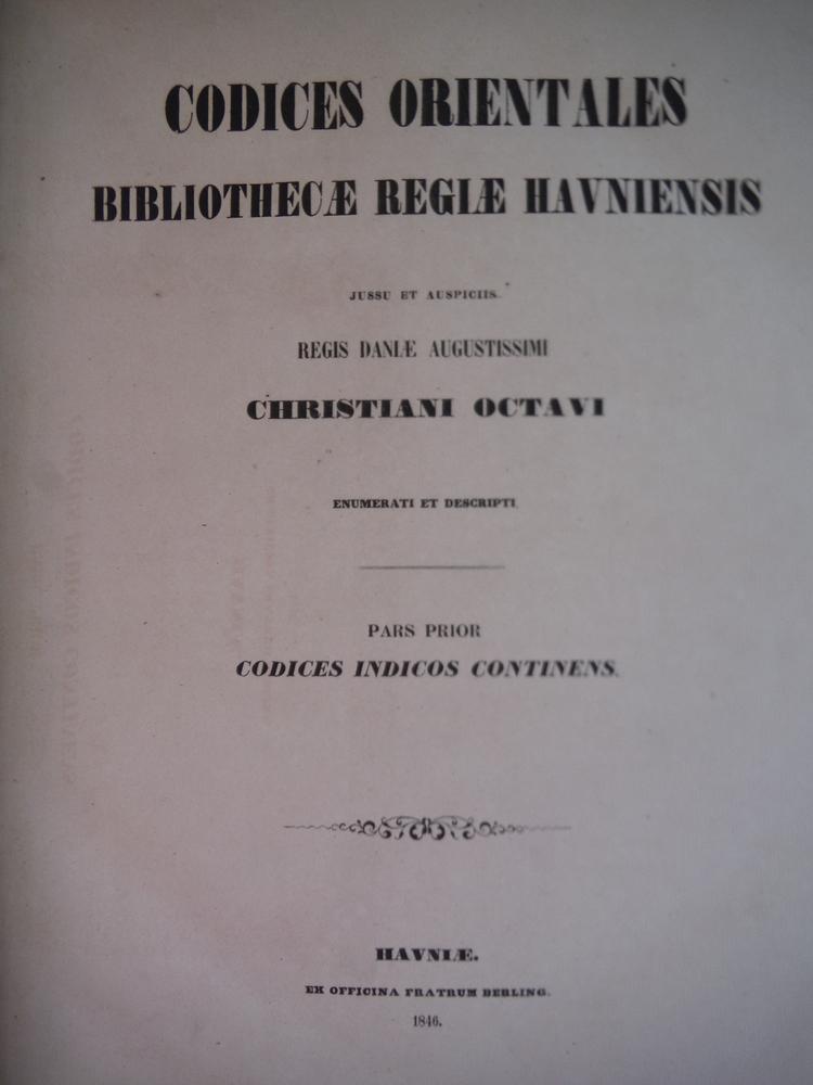 Image 1 of Codices Orientales Bibliothecae Regiae Havniensis Jussu et Auspiciis Regis Dania