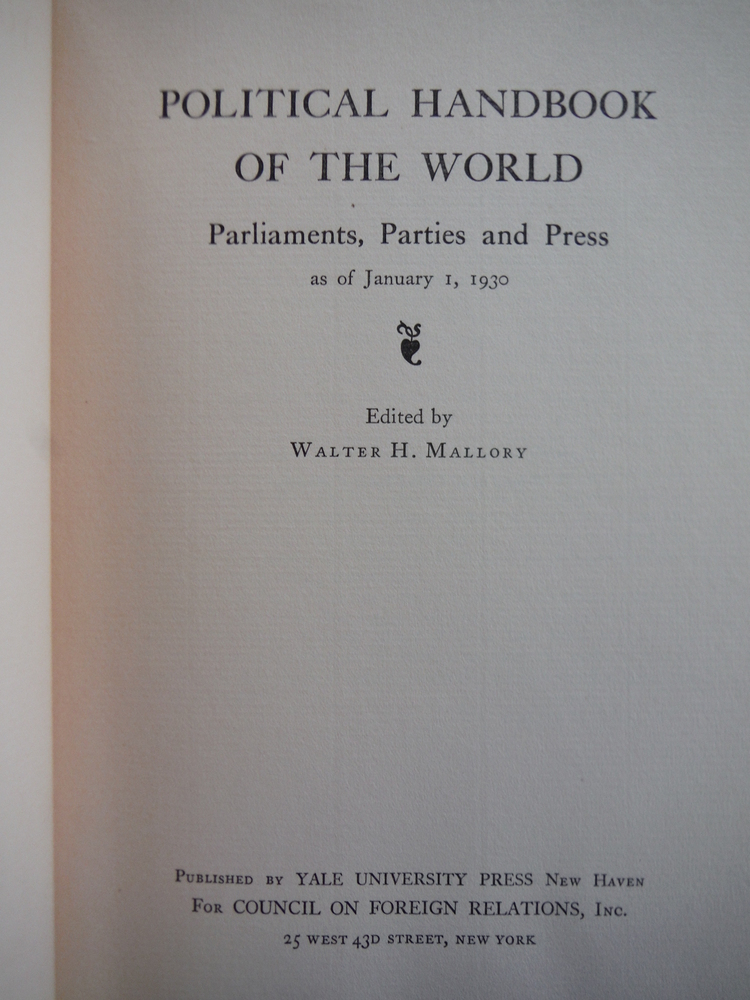Image 1 of Political Handbook of the World: Parliaments, Partiesand Press as of January 1,