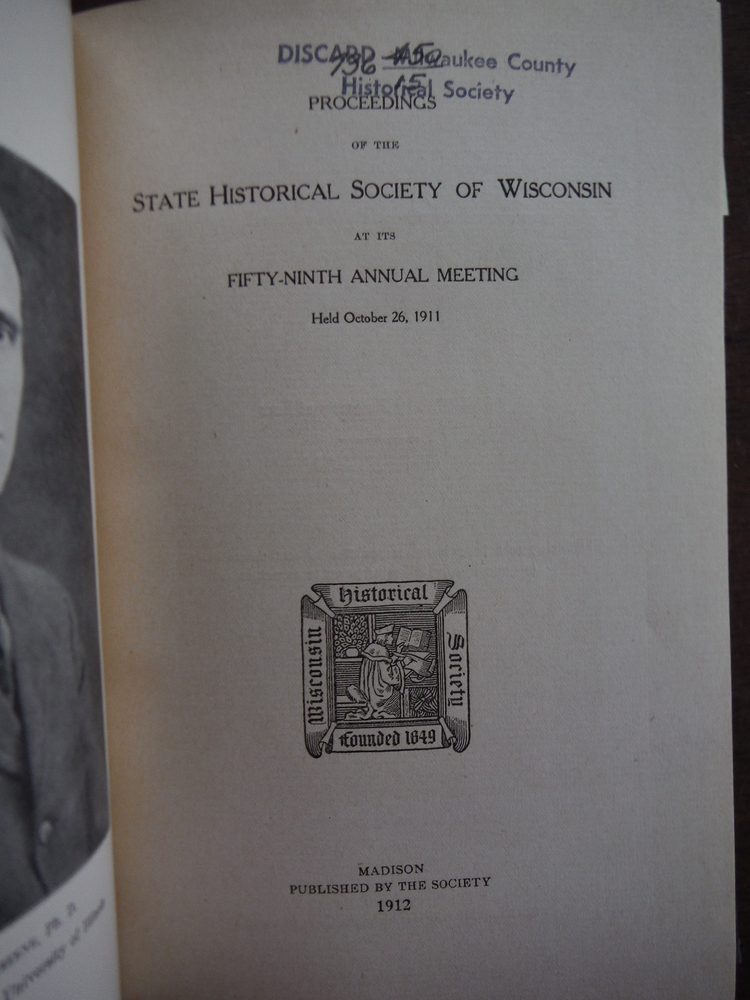 Image 1 of Proceedings of the State Historical Society of Wisconsin at the Fifty-Ninth Annu
