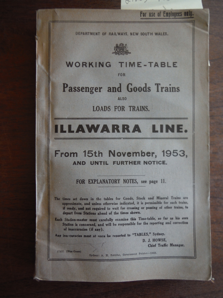 Department of Railways, New South  Wales Working Time-table for Passenger and Go
