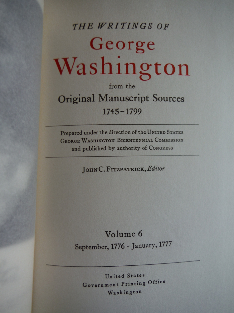 Image 1 of The Writings of George Washington from the  Original Manuscript 1745-1799 Volume
