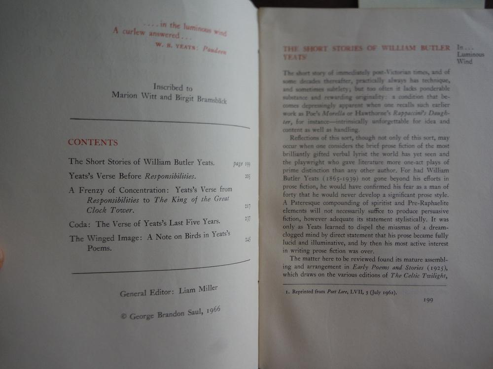 Image 1 of In...Luminous Wind Being No. VII of the Dolmen Press Yeats Centenary Papers MCML