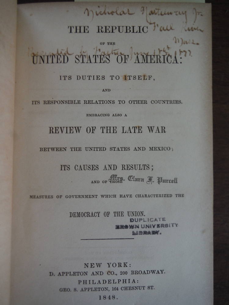 Image 1 of The Republic of the United States of America: Its Duties to Itself, and Its Resp