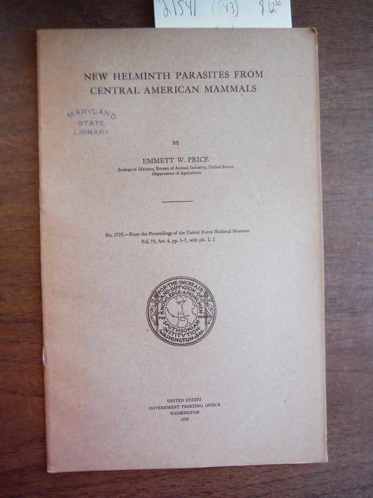 New Helminth Parasites from Central American Mammals, 1928, Proceedings, 73 (272