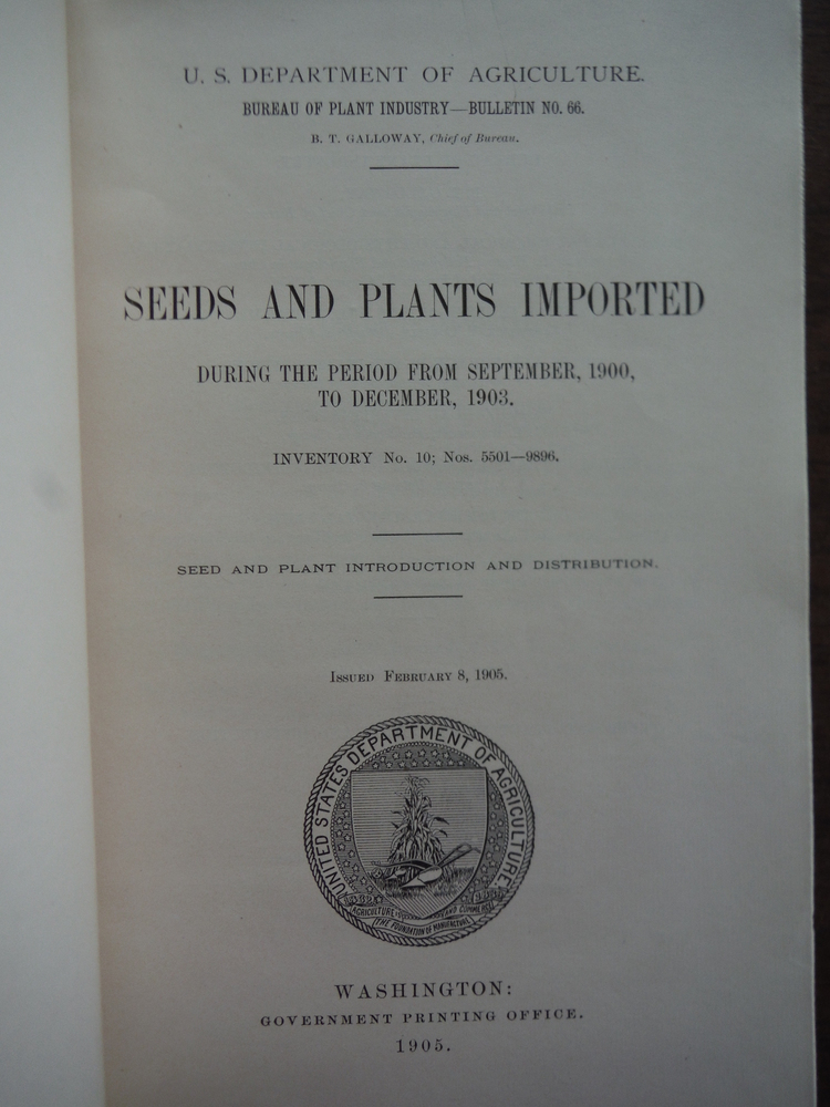 Image 1 of Seeds and Plants Imported During the Period from September, 1900, to December, 1