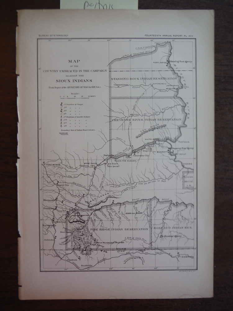 Map of the Country Embraced in the Campaign against the Sioux Indians from Repor