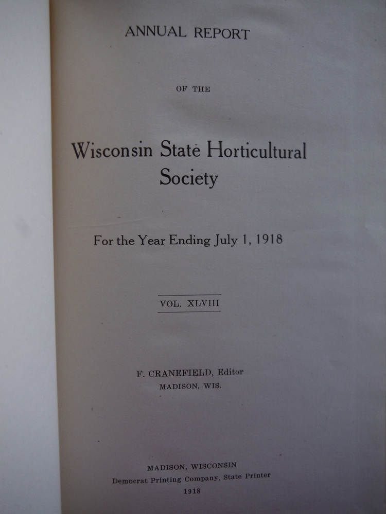 Image 1 of Annual Report of the Wisconsin State  Horticultural Society for the Year Ending