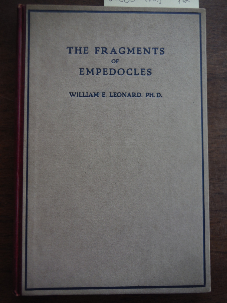 THE FRAGMENTS OF EMPEDOCLES Translated Into English Verse