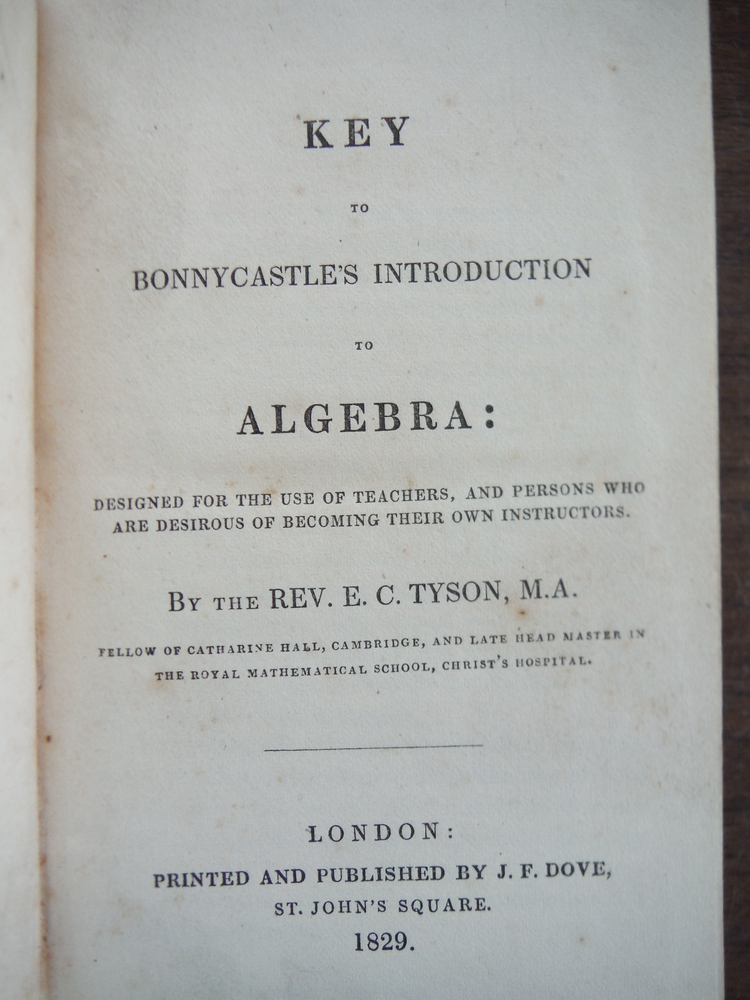 Image 1 of Key to Bonnycastle's Introduction to Algebra: Designed for the use of Teachers,