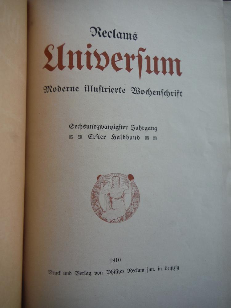 Image 1 of Reclams Universum: Illustrierte Wochenschrift. Gechsundzwanzigster [26] Jahrgang
