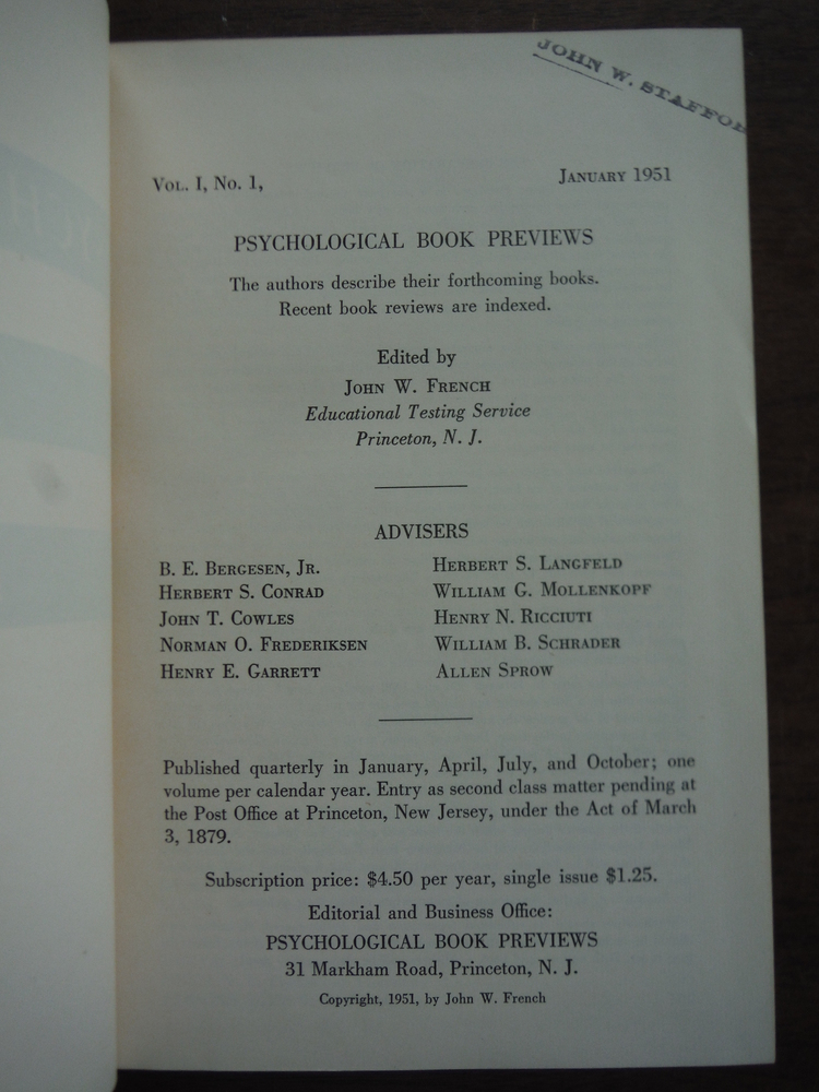 Image 1 of Psychological Book Previews Volume One 1951