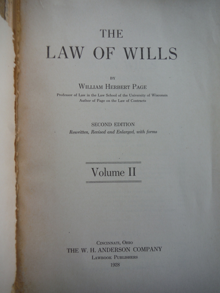 Image 1 of The Law of Wills (2 Vols)