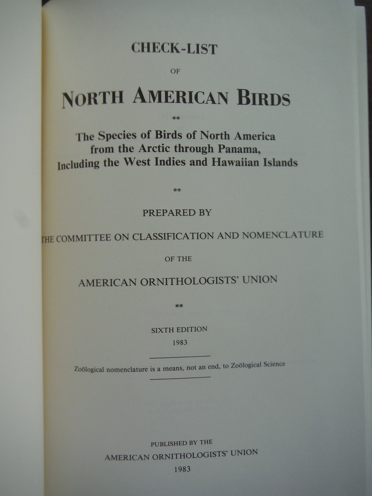 Image 1 of CHECK-LIST OF NORTH AMERICAN BIRDS; THE SPECIES OF BIRDS OF NORTHE AMERICA FROM