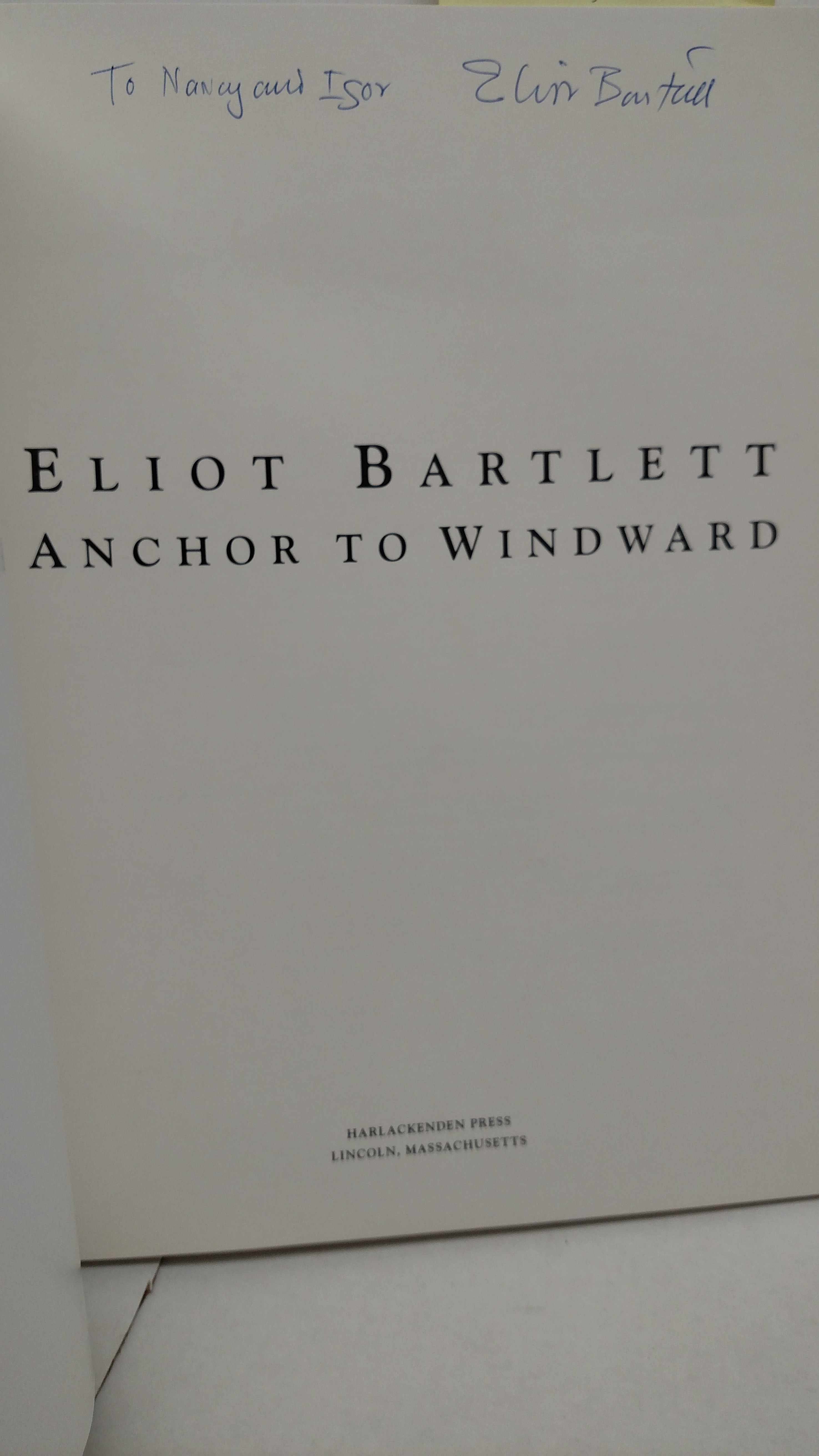 Image 1 of Eliot Bartlett:  Anchor to Windward