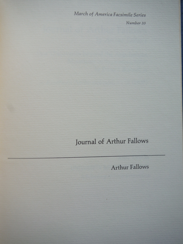 Image 1 of Journal of Arthur Fallows (March of America facsimile series)