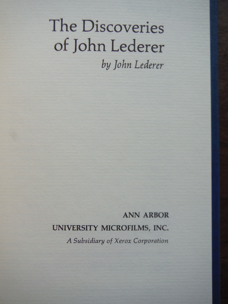 Image 1 of The Discoveries of John Lederer (March of America Facsimile Series) (1966 Reprin