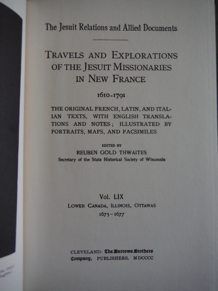 Image 1 of Voyages of Marquette in The Jesuit Relations, 59 with French and English Text (M