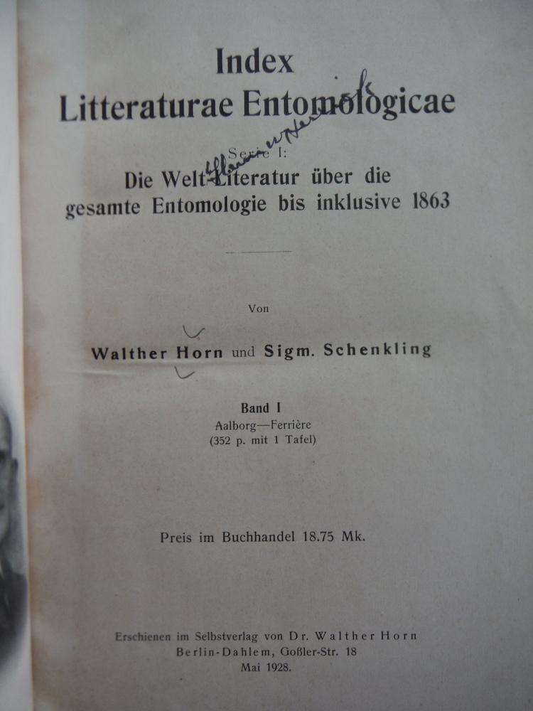 Image 1 of Index litteraturae entomologicae : Serie 1. Die Welt-Literatur über die gesamte