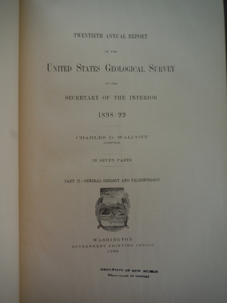 Image 1 of Twentieth Annual Report of the United States Geological surven of the Secretary