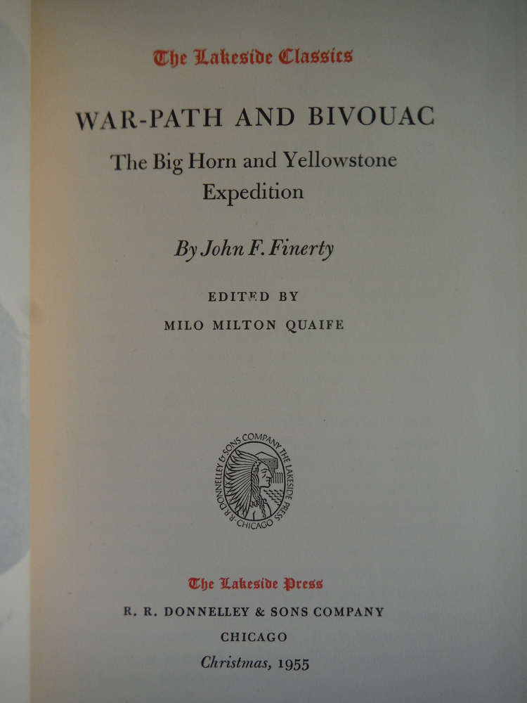 Image 1 of War-path and bivouac: The Big Horn and Yellowstone expedition. (The Lakeside cla