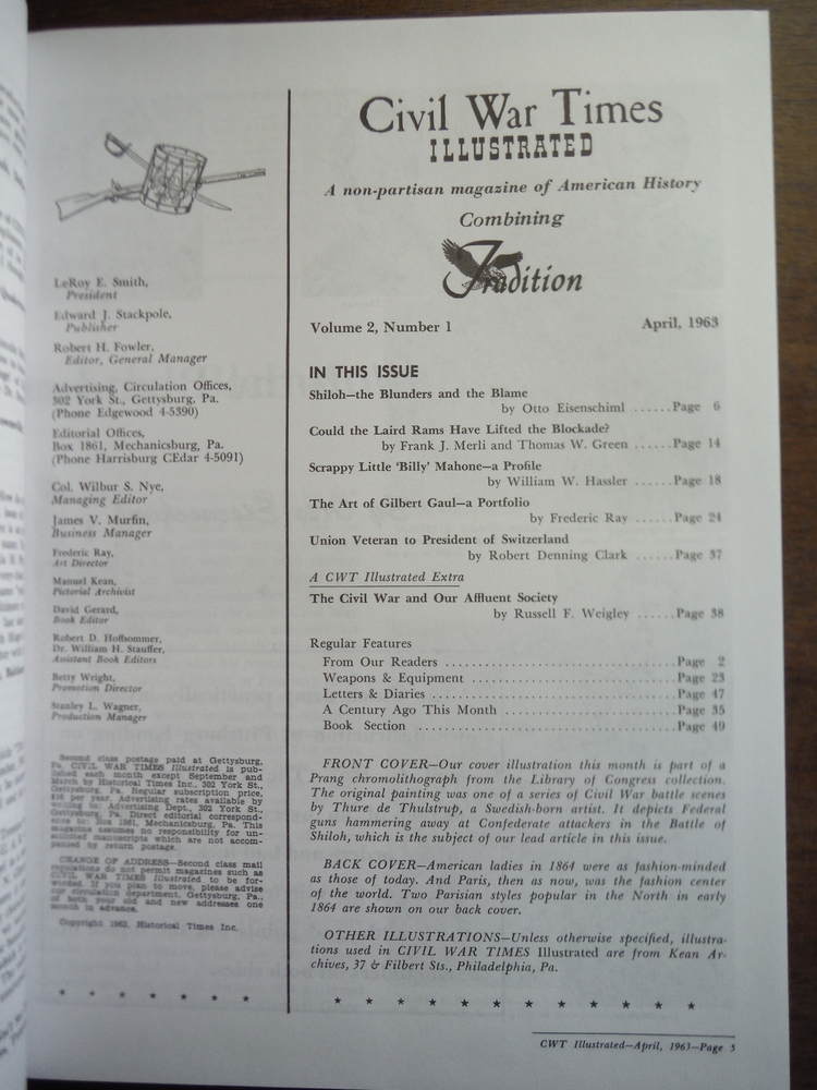 Image 1 of Civil War Times Illustrated Volume 2 1963-1964