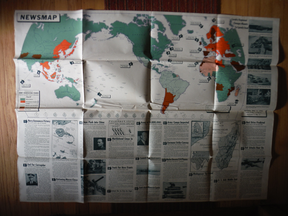 Image 0 of WW II Newsmap Vol.1  No. 3 (May 11, 1942) Distributed by Army Orientation Course