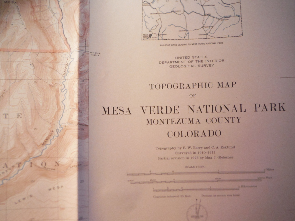Topographical Map of Mesa Verde National Park Montezuma County Colorado