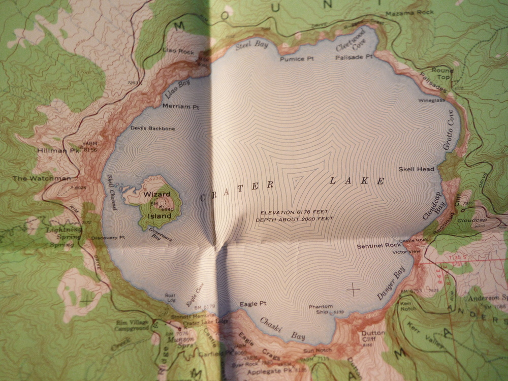 Topographical Map Crater Lake National Park and Vicinity, Oregon