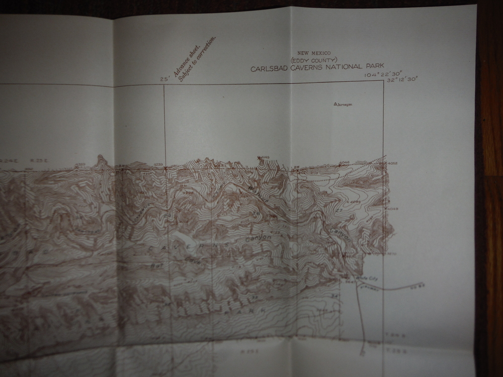 USGS Countour  Map Carlesbad Caverns National Park (Advance Sheet 1934)