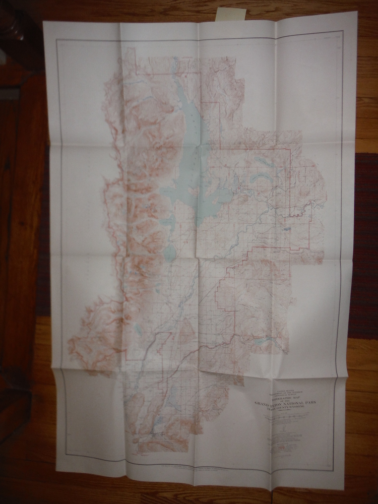Topographical Map of the Grand Teton National Park Teton County Wyoming (1954)