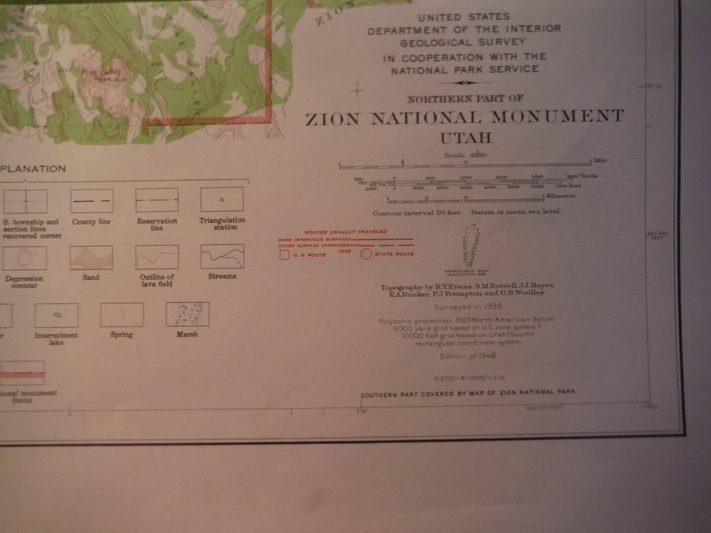 USGS Topographical Map of the Northern Part of Zion National Monuent - Utah (194