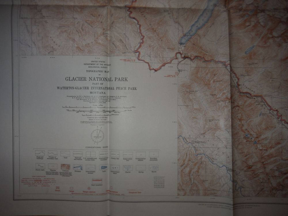 USGS Topographic Map of Glacier National Park Part of Waterton-Glacier Internati