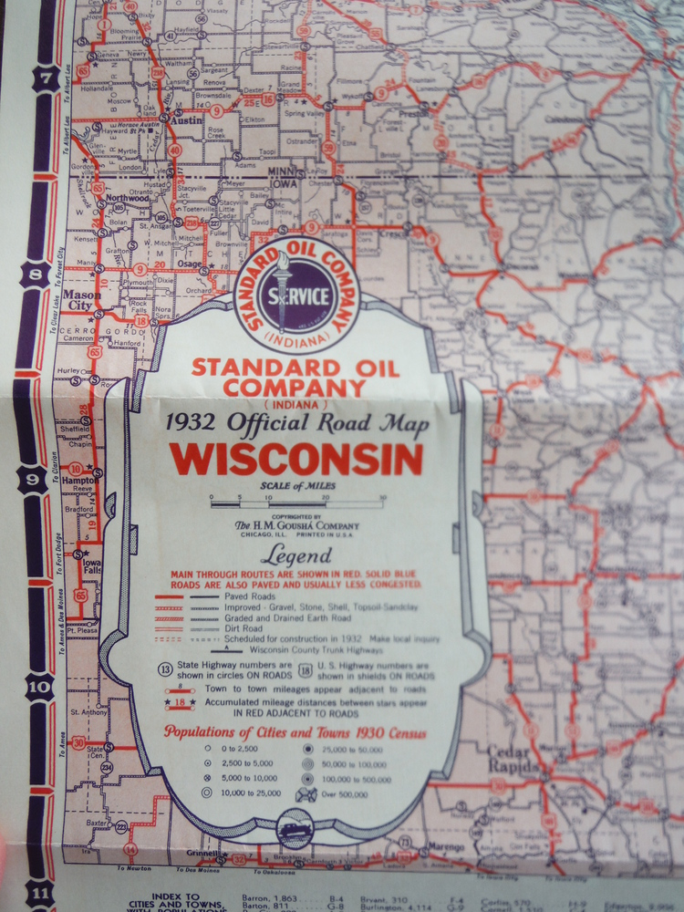 Image 1 of Standard Oil Company Indiana 1932 Official Road Map Wisconsin