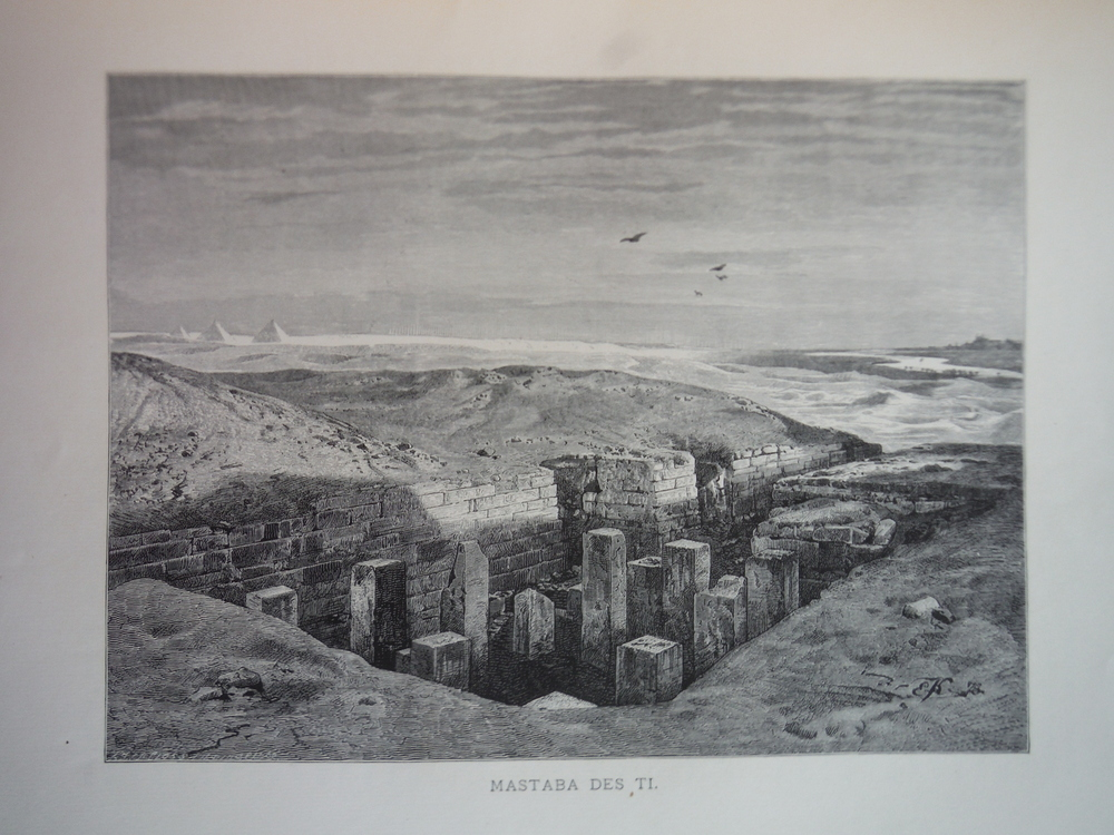 Image 0 of Mastaba des Ti by Ernst Korner Steel Engraving (1879)