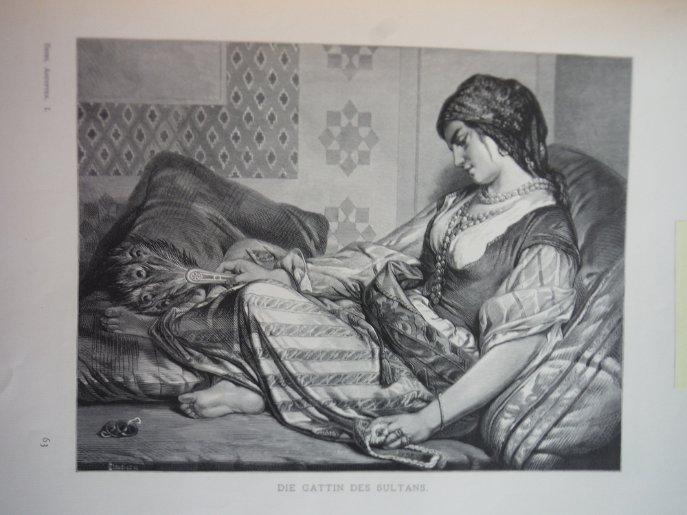 Image 0 of Die Gattin des Sultans by J. F. Portaels - Steel Engraving (1879)
