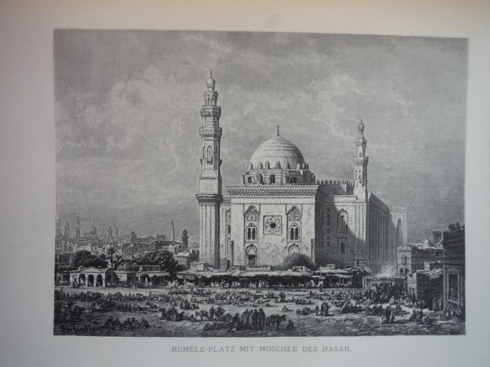 Image 0 of Rumele-Platz mit Moschee des Hasan by Bernhard Fiedler - Steel Engraving (1879)
