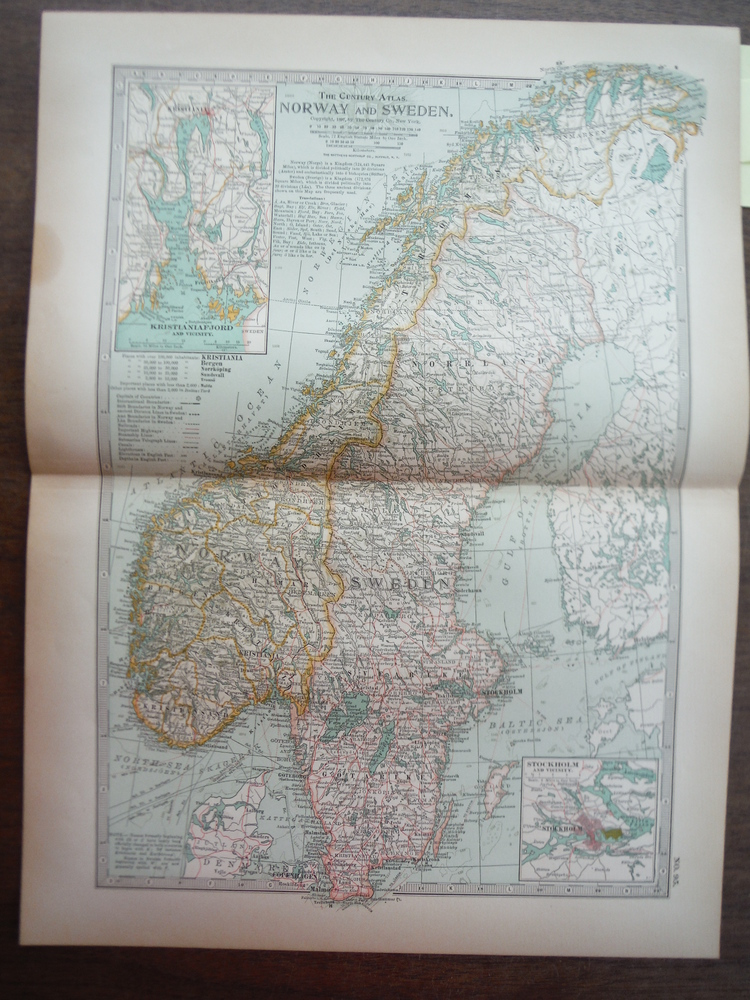 Image 0 of The Century Atlas  Map of Norway and Sweden(1897)
