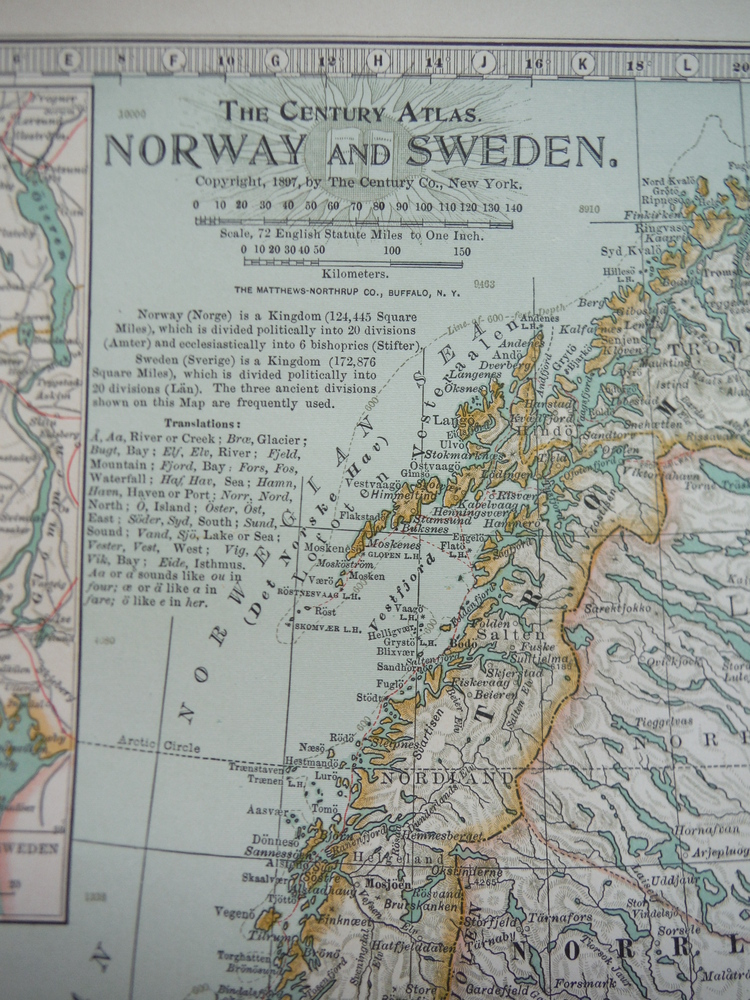 Image 1 of The Century Atlas  Map of Norway and Sweden(1897)