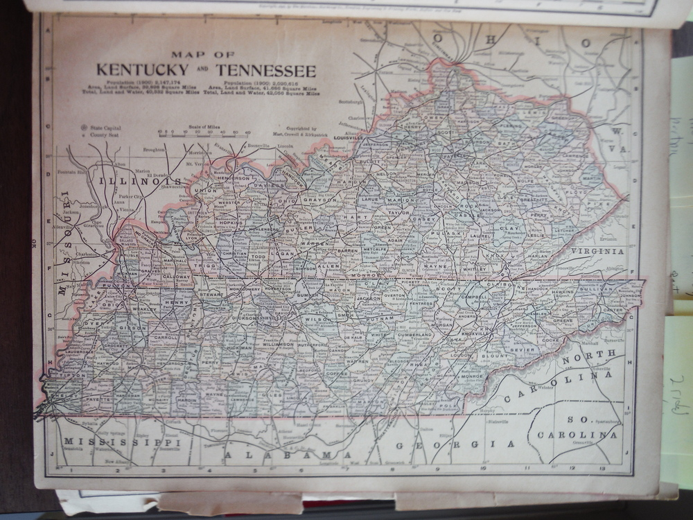 Map of Kentucky and Tennessee (1901)