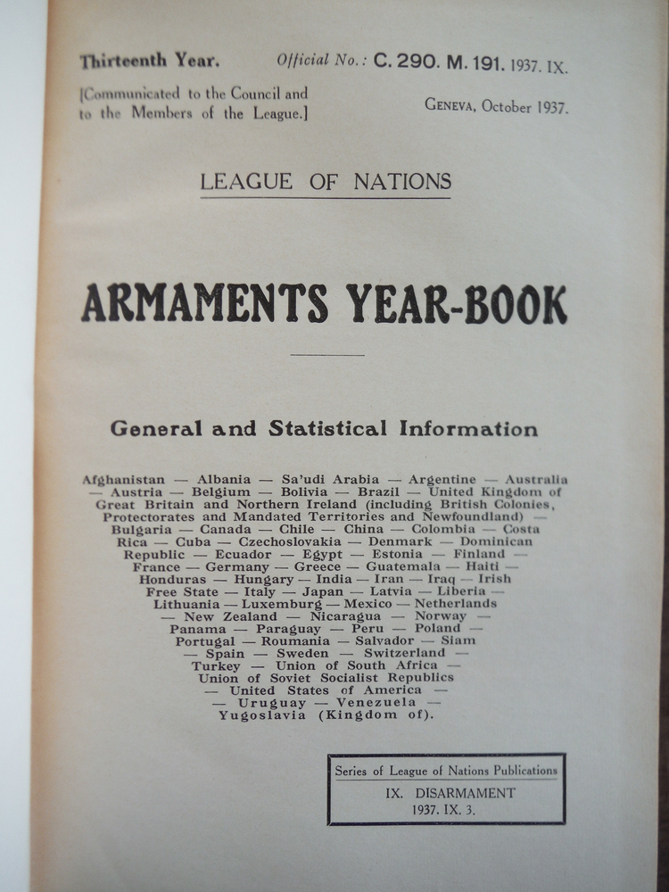 Image 1 of League of Nations Armaments Year-Book 1937 General and Statistical Information r