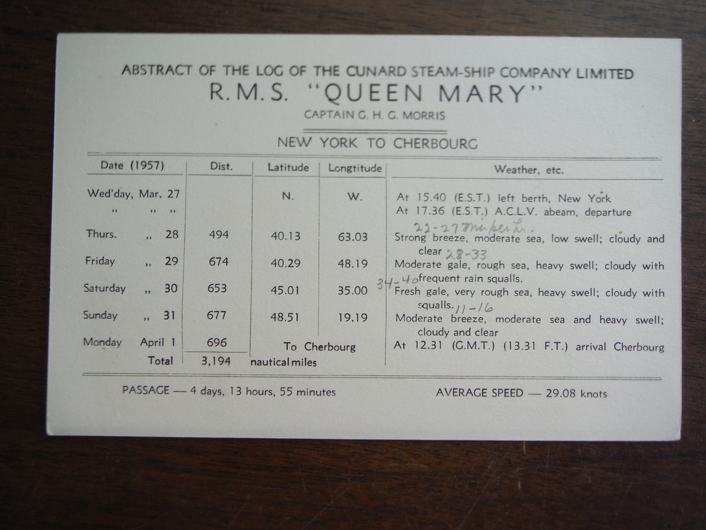 Image 1 of Abstract of the Log of the Cunard Steam-Ship Company Limited R.M.S.