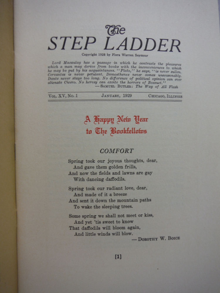 Image 2 of The Step Ladder A Monthly Journal of Bookly Ascent - 6 Issues (1929)