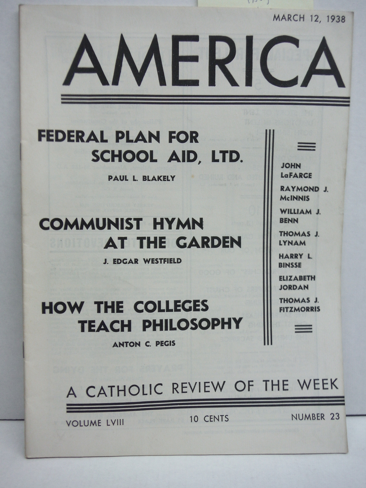 Image 0 of America A Catholic Review of the Week Vol LVIII No. 23 (March 12, 1938)